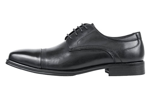 Asher Green Mens Black Genuine Brushed Calf Leather Cap Toe Lace Up Oxford Dress Shoe: Style Jessie-000