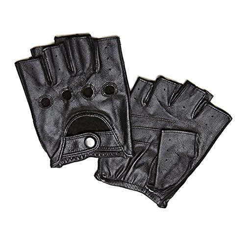 Men's Deerskin Fingerless Driving Fitness Motorcycle Cycling Unlined Leather Gloves