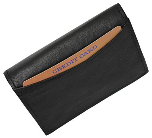 Genuine Leather Expandable Credit Card Outside Id Business Card Holder Wallet 070BK