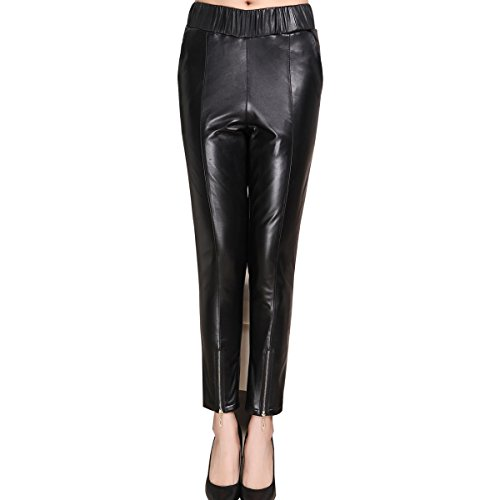 Humiture Lady's Leather Pants genuine Sheepskin Leather Trousers 5529