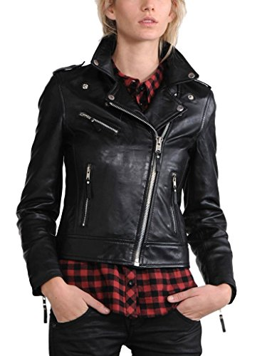 Exemplar Women's Black Lambskin Leather Moto Jacket LL809