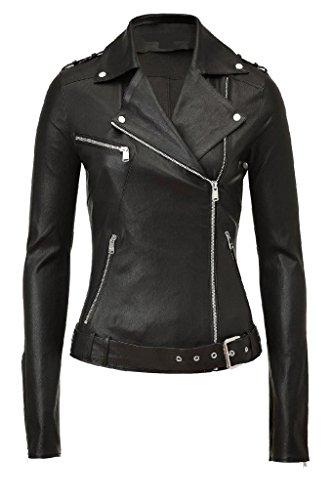 Exemplar Women's Genuine Lambskin Leather Moto Jacket Black LL897