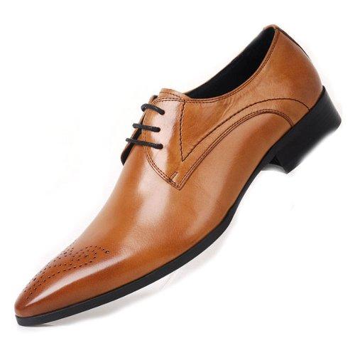 Fulinken Men Genuine Leather Oxford Shoes Lace up Slip on Boots Brogue Shoes Formal Dress Shoes