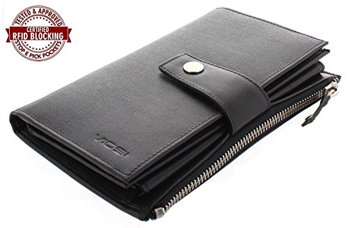 Viosi RFID Women's Large Capacity Luxury Genuine Saffiano All Leather Wallet