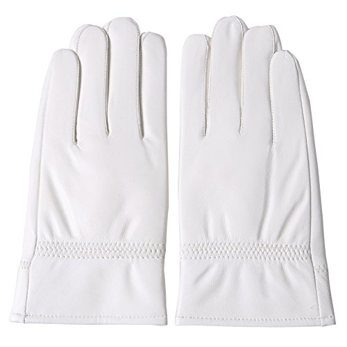 DID Men's Soft Genuine Lambskin Leather Winter Warm Policeman Hunting White Gloves