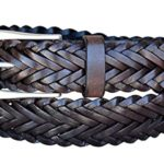 Hagora Women's Real Italian Leather Hand Braided 1-3/8″ Wide Antique Buckle Belt