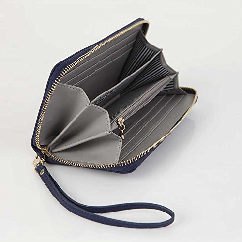 Women's Genuine Leather Purse Long Organizer Wallet with Wrist Strap Clutch Wristlet