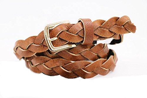 RIX DE125 Women's Head Layer Cowhide Full Grain Braided Leather Belt- 3/4″ Width