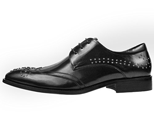 Asher Green Mens Classic Black Genuine Leather Wingtip Oxford Dress Shoe with Stud Detailing: AG987-000