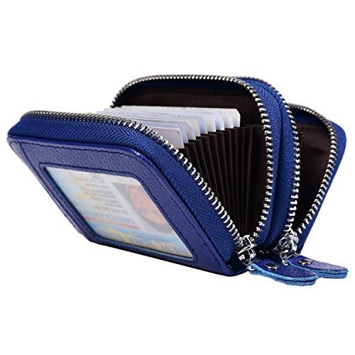 Yuhan Pretty Womens Credit Card Wallet Holder RFID Genuine Leather Zipper Purse