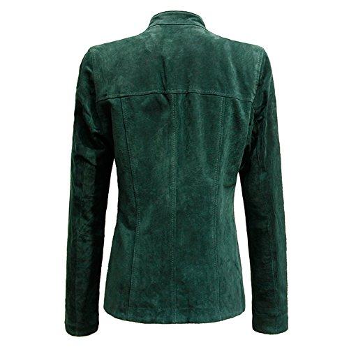 Escalier Women's Genuine Leather Zipper Suede Moto Jacket