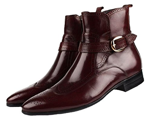 Santimon-Men's Genuine Leather High-top Ankle Boots Causal Leisure Shoes Oxford Shoes