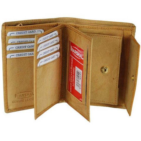 Genuine Leather Bifold Business Card and Credit Card Holder Top Load by Marshal