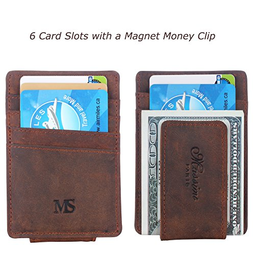 Win&Income Money Clip Genuine Leather Money Clip Wallet Credit Card Holder, Brown