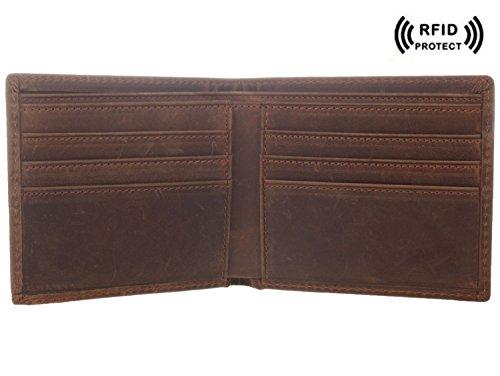 Texbo RFID Blocking Men's Genuine Cowhide Leather Vintage Bifold Wallet
