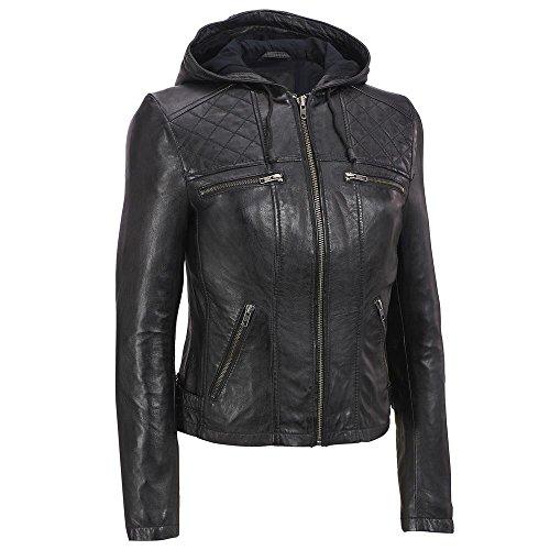Zohran Women's Cow Milled Leather Motorcycle Bomber Biker Jacket With Hood WJKT113