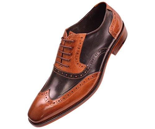 Asher Green Mens Two Tone Black and Tan Genuine Leather Wingtip Oxford Dress Shoe : Style AG100-028