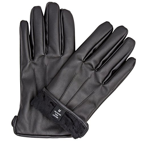 ZARACHI mens faux leather black fur lined gloves with tec touchscreen technology