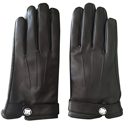 MarSue Men's Cashmere Ethiopian Lambskin Leather Winter Gloves with Cashmere Lining and Full-Hand Touchscreen