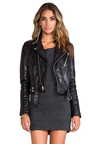 KBN Leather Women's Genuine Lambskin biker Bomber Jacket Small Black